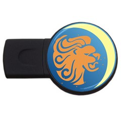 Lion Zodiac Sign Zodiac Moon Star Usb Flash Drive Round (2 Gb)