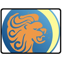 Lion Zodiac Sign Zodiac Moon Star Double Sided Fleece Blanket (large)