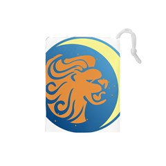 Lion Zodiac Sign Zodiac Moon Star Drawstring Pouches (small)