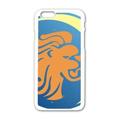 Lion Zodiac Sign Zodiac Moon Star Apple Iphone 6/6s White Enamel Case by Nexatart