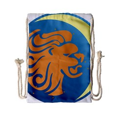 Lion Zodiac Sign Zodiac Moon Star Drawstring Bag (small) by Nexatart