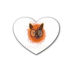 Cat Smart Design Pet Cute Animal Rubber Coaster (heart)