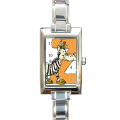 Zebra Animal Alphabet Z Wild Rectangle Italian Charm Watch by Nexatart