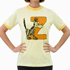 Zebra Animal Alphabet Z Wild Women s Fitted Ringer T Shirts by Nexatart