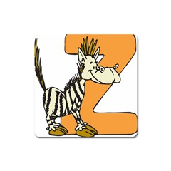 Zebra Animal Alphabet Z Wild Square Magnet