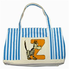 Zebra Animal Alphabet Z Wild Striped Blue Tote Bag by Nexatart