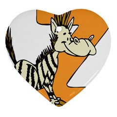 Zebra Animal Alphabet Z Wild Heart Ornament (two Sides)