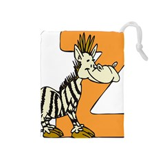 Zebra Animal Alphabet Z Wild Drawstring Pouches (medium)  by Nexatart