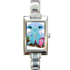 Pig Animal Love Rectangle Italian Charm Watch
