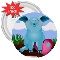 Pig Animal Love 3  Buttons (100 Pack)