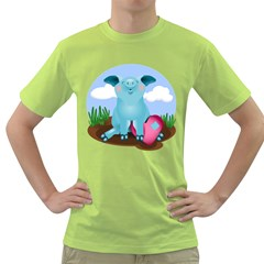 Pig Animal Love Green T Shirt