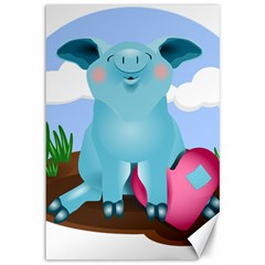 Pig Animal Love Canvas 12  X 18