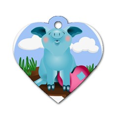 Pig Animal Love Dog Tag Heart (one Side)
