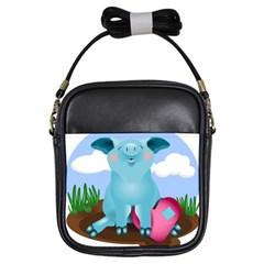 Pig Animal Love Girls Sling Bags by Nexatart