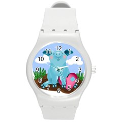 Pig Animal Love Round Plastic Sport Watch (m) by Nexatart