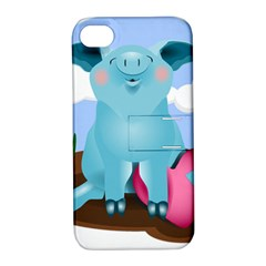 Pig Animal Love Apple Iphone 4/4s Hardshell Case With Stand