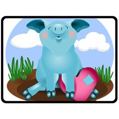 Pig Animal Love Double Sided Fleece Blanket (large)  by Nexatart