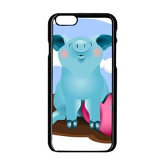 Pig Animal Love Apple Iphone 6/6s Black Enamel Case