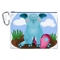 Pig Animal Love Canvas Cosmetic Bag (xxl) by Nexatart