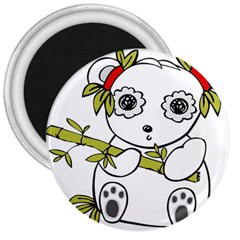 Panda China Chinese Furry 3  Magnets by Nexatart