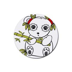 Panda China Chinese Furry Rubber Round Coaster (4 Pack)