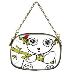 Panda China Chinese Furry Chain Purses (one Side)