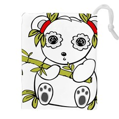 Panda China Chinese Furry Drawstring Pouches (xxl) by Nexatart
