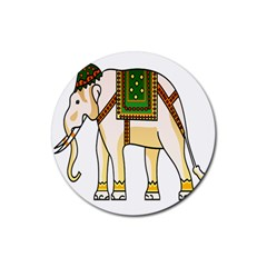 Elephant Indian Animal Design Rubber Coaster (round)