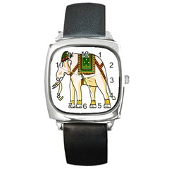 Elephant Indian Animal Design Square Metal Watch