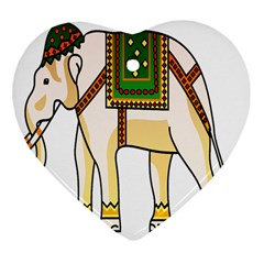 Elephant Indian Animal Design Heart Ornament (two Sides)