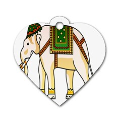 Elephant Indian Animal Design Dog Tag Heart (two Sides)
