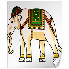 Elephant Indian Animal Design Canvas 11  X 14