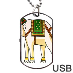 Elephant Indian Animal Design Dog Tag Usb Flash (two Sides)