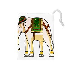 Elephant Indian Animal Design Drawstring Pouches (medium)
