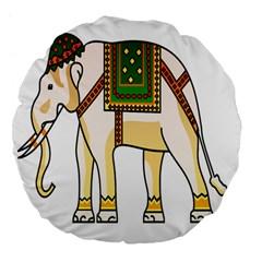 Elephant Indian Animal Design Large 18  Premium Flano Round Cushions