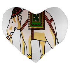 Elephant Indian Animal Design Large 19  Premium Flano Heart Shape Cushions