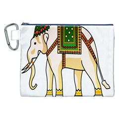 Elephant Indian Animal Design Canvas Cosmetic Bag (xxl) by Nexatart