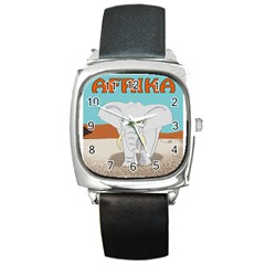 Africa Elephant Animals Animal Square Metal Watch