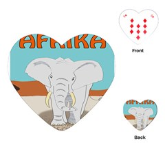 Africa Elephant Animals Animal Playing Cards (heart)  by Nexatart