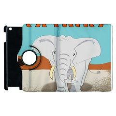 Africa Elephant Animals Animal Apple Ipad 2 Flip 360 Case by Nexatart