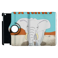 Africa Elephant Animals Animal Apple Ipad 3/4 Flip 360 Case by Nexatart