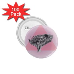 Lizard Hexagon Rosa Mandala Emblem 1 75  Buttons (100 Pack)