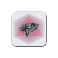 Lizard Hexagon Rosa Mandala Emblem Rubber Square Coaster (4 Pack)