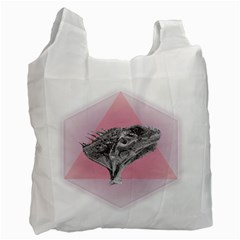 Lizard Hexagon Rosa Mandala Emblem Recycle Bag (one Side)