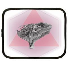 Lizard Hexagon Rosa Mandala Emblem Netbook Case (xl)  by Nexatart