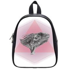 Lizard Hexagon Rosa Mandala Emblem School Bag (small) by Nexatart