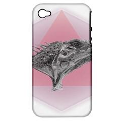 Lizard Hexagon Rosa Mandala Emblem Apple Iphone 4/4s Hardshell Case (pc+silicone) by Nexatart