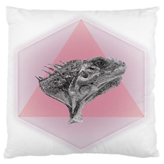 Lizard Hexagon Rosa Mandala Emblem Large Flano Cushion Case (two Sides) by Nexatart