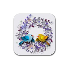Flowers Floral Flowery Spring Rubber Square Coaster (4 Pack)