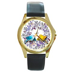 Flowers Floral Flowery Spring Round Gold Metal Watch